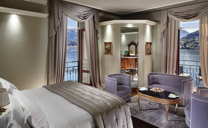 Grand Hotel Tremezzo Lake Como deluxe room elegant décor view of lake
