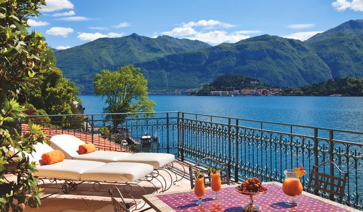 Grand Hotel Tremezzo Lake Como suite greta terrace sun loungers outdoor dining overlooking lake