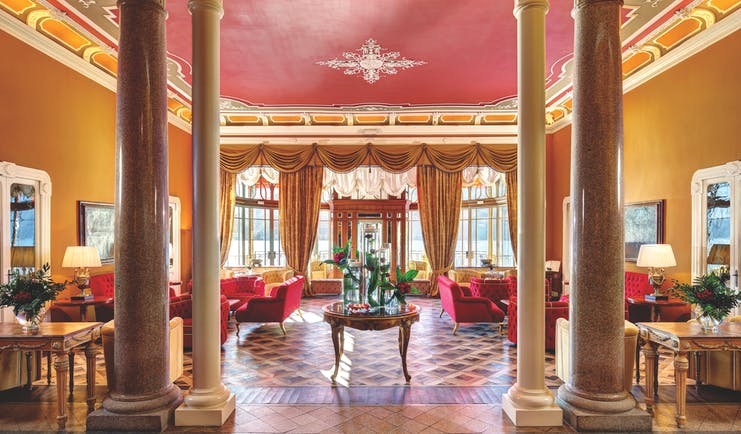 Grand Hotel Tremezzo Lake Como lobby marble columns elegant décor sofas