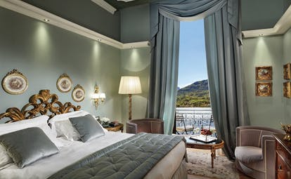 Grand Hotel Tremezzo Lake Como prestige room side views of lake elegant décor