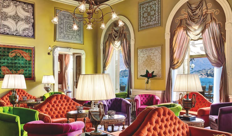 Grand Hotel Tremezzo Lake Como sala musica indoor lounge elegant décor views of lake