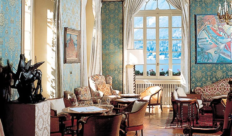 Grand Hotel Villa Serbelloni Lake Como communal lounge indoor seating area ornate décor