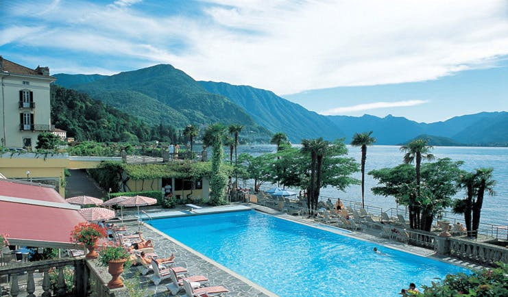 Grand Hotel Villa Serbelloni Lake Como pool sun loungers overlooking lake Como
