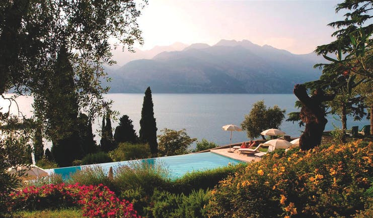 Bellevue San Lorenzo Lake Garda gardens and pool overlooking the lake