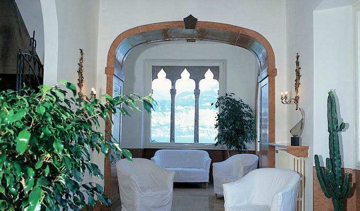 Bellevue San Lorenzo Lake Garda lounge indoor seating area traditional architecture