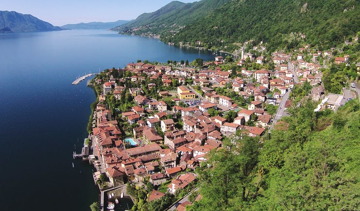 Hotel Cannero Lake Maggiore aerial shot of Cannero town lake and mountains in the background