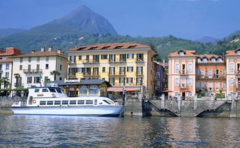 Hotel Cannero Lake Maggiore lake side boat harbour architectural features