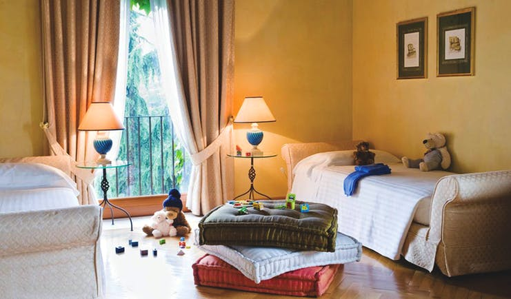 Hotel L'Albereta Lake Iseo contadi tower suite childrens room beds teddy bears toys