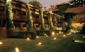 Hotel L'Albereta Lake Iseo gardens at night hotel exterior