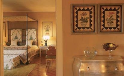 Hotel L'Albereta Lake Iseo lake tower suite bedroom contemporary décor bedroom