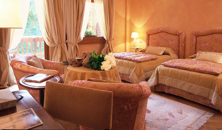 Hotel L'Albereta Lake Iseo twin room two beds armchairs traditional décor