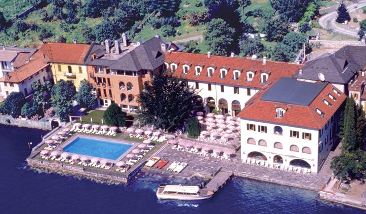 Hotel San Rocco Lake Orta aerial hotel buildings gardens pool jetty lake