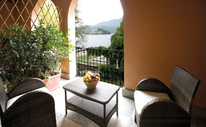 Hotel San Rocco Lake Orta balcony secluded seating area overlooking lake