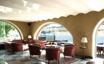 Hotel San Rocco Lake Orta bar leather sofa and seats overlooking lake