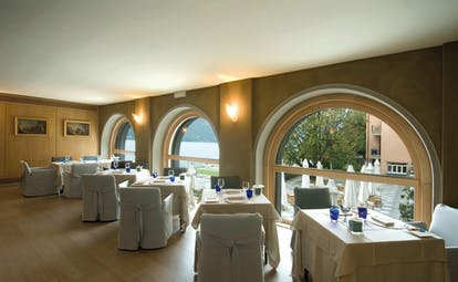 Hotel San Rocco Lake Orta dining restaurant overlooking terrace lake in background