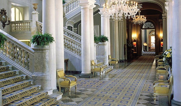 Villa d' Este Lake Como traditional décor marble tiles and columns