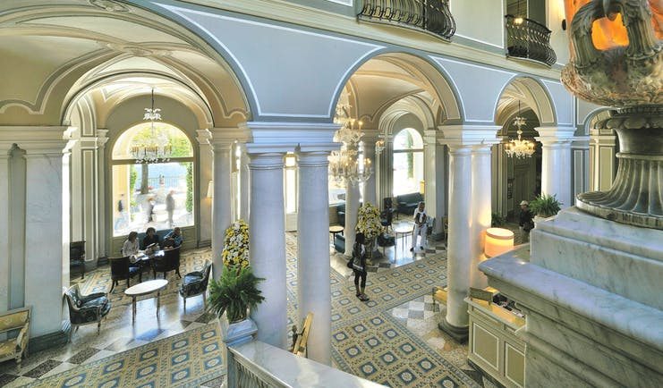 Villa d' Este Lake Como lobby marble columns and tiles indoor seating classical décor