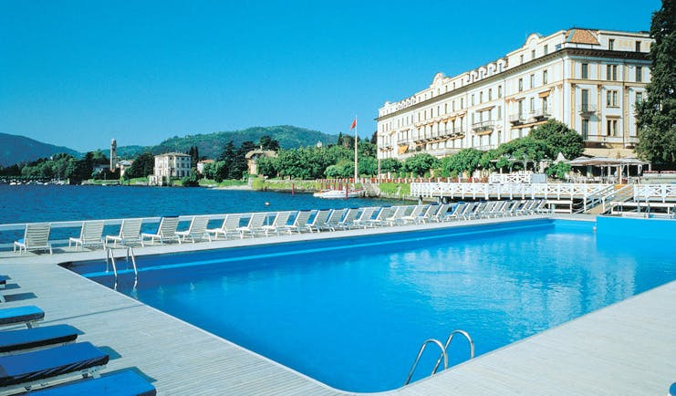 Villa d' Este Lake Como pool overlooking lake hotel in background
