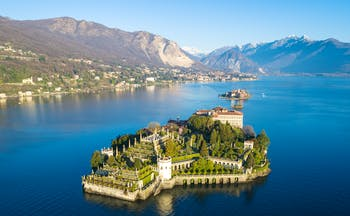 Island with terraced gardens in middle of lake Maggiore called Isola Bella