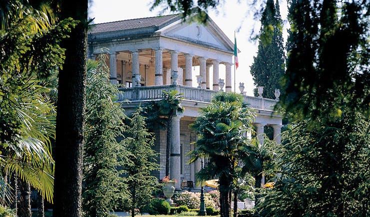 Villa Cortine Lake Garda exterior neo classical architecture gardens trees