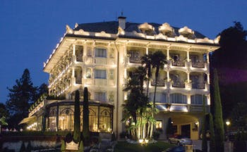 Villa Aminta Lake Maggiore hotel exterior by night ornate architecture