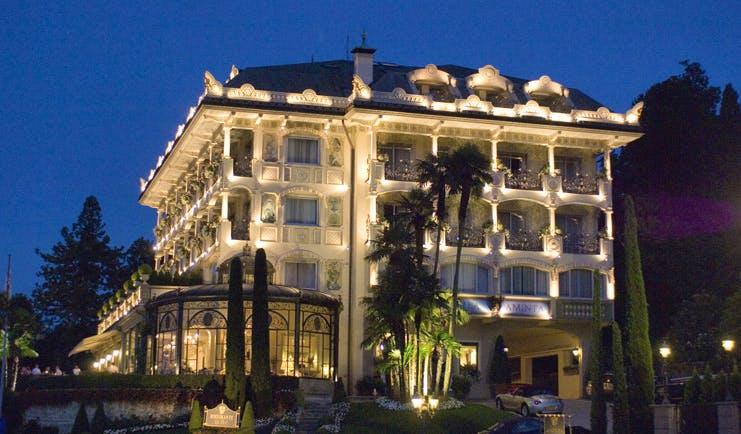 Villa Aminta Lake Maggiore hotel exterior by night ornate architecture