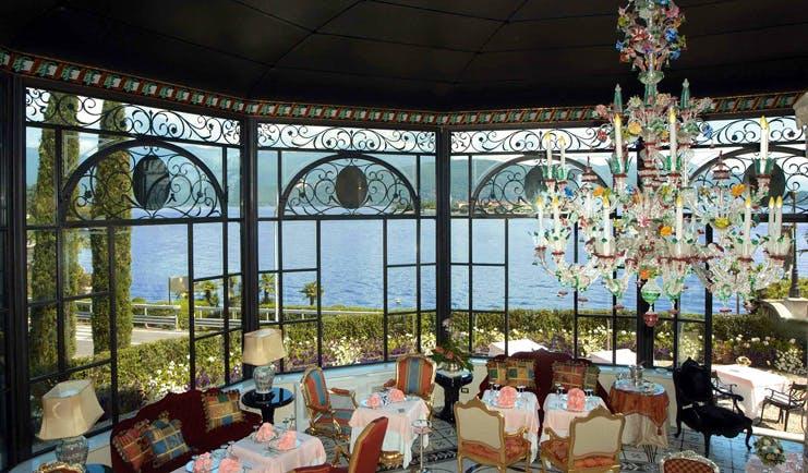 Villa Aminta Lake Maggiore restaurant indoor dining area ornate décor chandelier