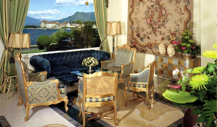 Villa Aminta Lake Maggiore indoor seating area ornate décor tapestry lake views