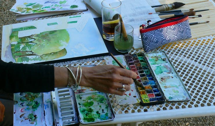 Painting in Tuscany at Villa le Barone paints and paper