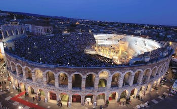 Verona amphitheatre arena at night