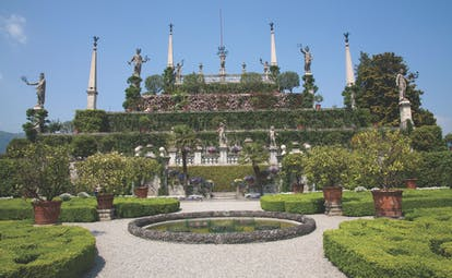 Terraced stonework clad in greenery with fountains at Isola Bella Lake Maggiore