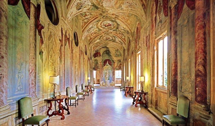Vila Grazioli Latium Pannini Gallery frescoed gallery hallway authentic architecture