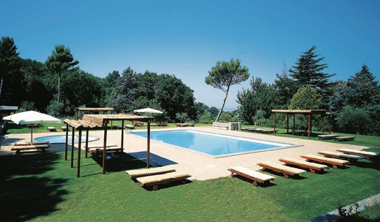 Vila Grazioli Latium pool terrace sun loungers clear blue skies