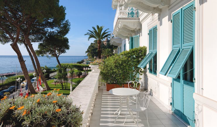 Grand Hotel Miramare Ligurian Riviera balcony shuttered windows views over the ocean