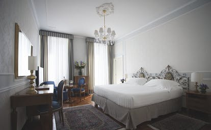 Grand Hotel Miramare Ligurian Riviera deluxe room king size bed two large windows