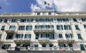Grand Hotel Miramare Ligurian Riviera exterior front of hotel building italian flag