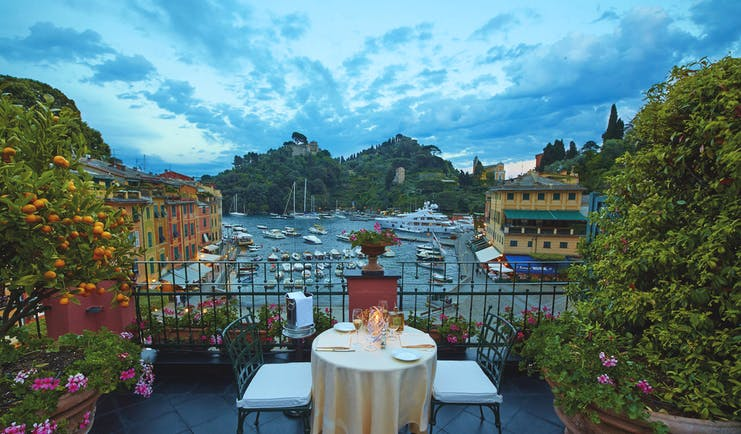 Splendido Portofino Ava Gardner suite terrace dining views of harbour