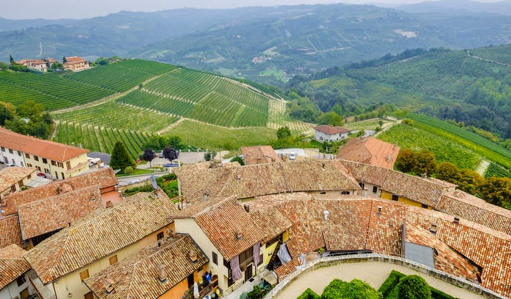 Terracotta roofs of village of Serralunga d'Alba with hills of vines