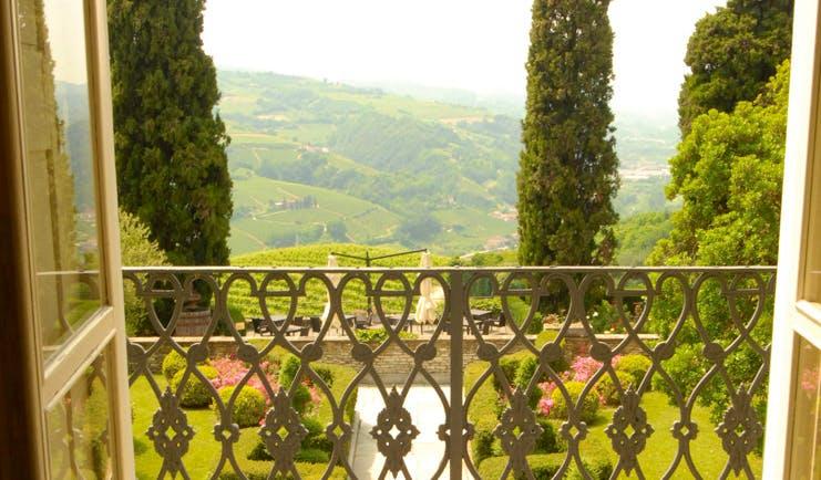 Relais San Maurizio Piemonte view of garden from terrace countryside views