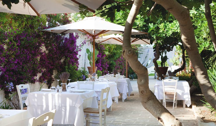 Canne Bianche Puglia outdoor restaurant seating area flowers and trees