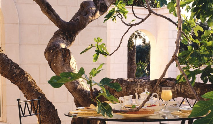 Masseria San Domenico Puglia patio dining breakfast table tree