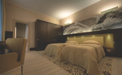 Risorgimento Resort Puglia superior room  twin beds en suite bathroom modern décor