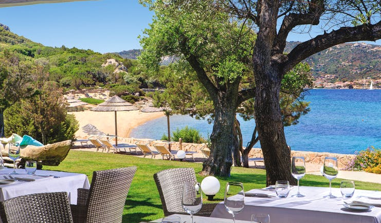 La Rocca Sardinia beach dining sun loungers umbrella