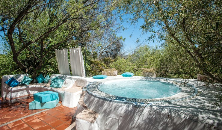 Jacuzzi plunge pool with seating areas around the sides and trees overhead