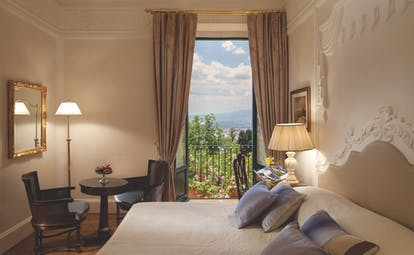 Grand Hotel Timeo Sicily double bedroom stylish décor window with garden views