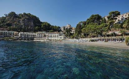 Villa Sant Andrea Sicily beach umbrellas sun loungers