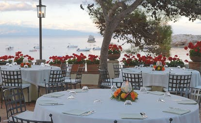 Villa Sant Andrea Sicily terrace dining outdoor eating area sea views