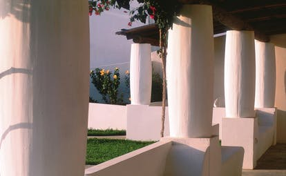 Capofaro Hotel Sicily columns white washed traditional Aeolian architecture
