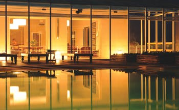 Foresteria La Planeta Sicily pool by night
