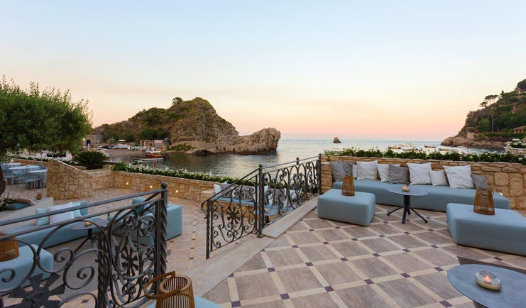 Mazzaro Sea Palace Sicily outdoor seating terrace overlooking the bay